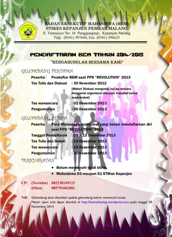 Ujian dan Pendaftaran BEM 2014/2015